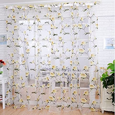 Ouneed Fashion Brilliant Peony flowers Tulle Window Screens Door Balcony Curtain Sheer Scarfs Cover