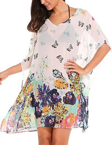 2f26b672075c42 *Zeagoo Damen Strandtunika Poncho Bikini Kleid Chiffon Sommerkleid  Beachwear Blumen Druck Cover-Up One-Size (One-Size, Blumen 3)