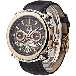 Ingersoll Automatic Men's Automatic Watch with Black Dial Chronograph Display and Black Leather Strap IN6909RBK