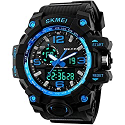 Jelercy Dual Dial Analog Digital Quartz Electronic LED Display 5ATM 50M Waterproof Running Oversized Face Sports Watches for Men,Blue