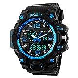 Jelercy Dual quadrante analogico al quarzo digitale elettronico LED display 5atm 50m impermeabile corsa oversize viso orologi sportivi per gli uomini, blu