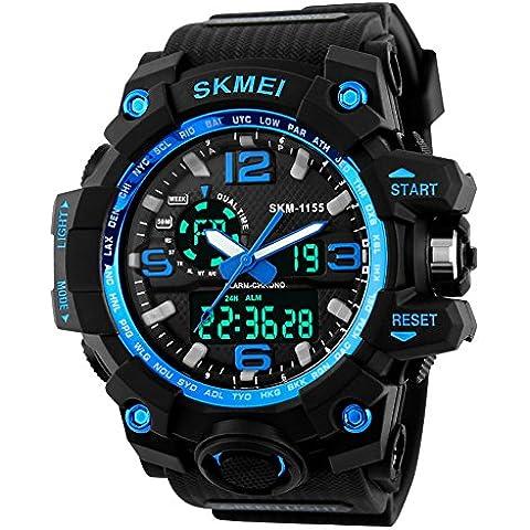 jelercy Dual Dial analógico digital cuarzo electrónico 50m impermeable Correr Relojes Sport para hombre, color azul
