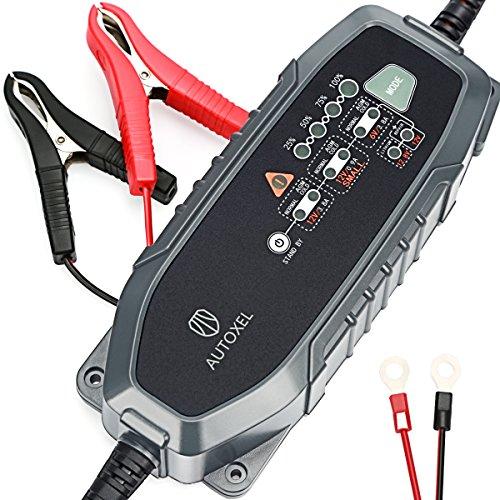 Cargador de batería de coche, autoxel 3,8 A 6 V/12 V 8 modos inteligente cargador/mantenedor de batería de automóvil para vehículos con Control de CC/CV para LiFePO4 & batería de plomo ácido de mojado, MF, VRLA, AGM y Gel