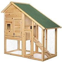 Kaninchenstall Kleintierstall Hasenvilla 140x65x119 cm