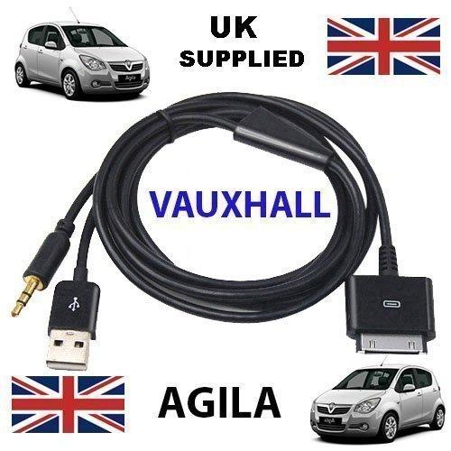 VAUXHALL AGILA für iPhone/iPad/iTouch 3,5 mm Audio und USB Dock Kabel/AUX Kabel ---Apple Dockstecker auf 3,5 mm Klinkenstecker und USB Lade/kompatibel mit allen Modellen des iPod, iPhone und iPad. - Itouch Dock