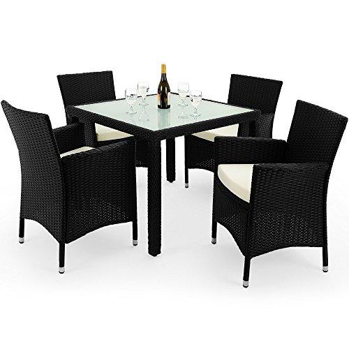 Deuba Poly Rattan 4+1 Sitzgruppe schwarz| 7cm dicke Auflagen creme | 6mm Milchglas Tischplatte - Sitzgarnitur Essgruppe Gartenmöbel Garten Lounge Set