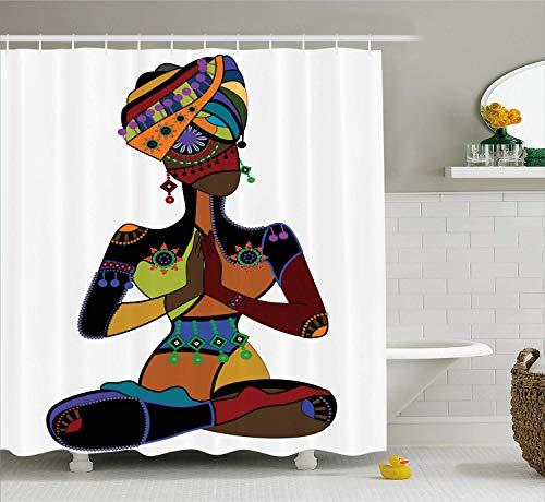 AdaCrazy Frau Figur im ethnischen Stil Kostüm beten Kultur alte Aufklärung Gnade Yoga Duschvorhang Tuch Stoff Badezimmer Dekor Set mit Haken 71 Zoll extra Lange Multicolor