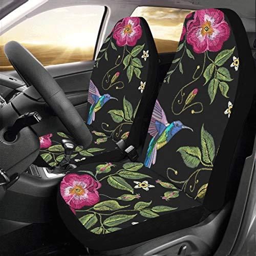 Plsdx Stickerei Humming Bird Mit Glorious Blumen Universal Fit Auto Drive Autositzbezüge Protector Für Frauen Automobil Jeep LKW SUV Fahrzeug Full Set Zubehör für Erwachsene Baby (Set Von 2 Front)