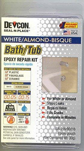 White Almond Bath (RV Trailer Camper Bathroom Bath Tub Repair Kit Almond/White 002-90216 by A P Products)