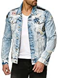 Red Bridge Herren Jeansjacke Denim Jacke Jeans Destroyed Vintage Used-Look mit Patches Baumwolle (Blau, L)