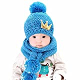 casquettes de Bébé, Kfnire couronne de tricot épais laine chaude capuche longue écharpe casquettes chapeaux sertie de pom (bleu)