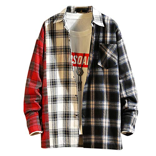 BHYDRY Herren Casual Fashion Plaid Druck Patchwork Revers Langarm Shirt Top Bluse(Large,Rot) - Patchwork-plaid Shirt
