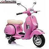 Tecnobike Shop Moto Scooter Elettrico per Bambini Ufficiale Piaggio Vespa PX 150 12V con Rotelle Sella in Pelle Nero/Beige Crema (Rosa)