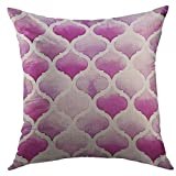 Funda de almohada decorativa Throw para sofá, geométrica Tánger marroquí de colores púrpuras sobre blanco Acuarela Bodacious Abstract Amaranth Decoración para el hogar Funda de almohada 18x18 pulgadas