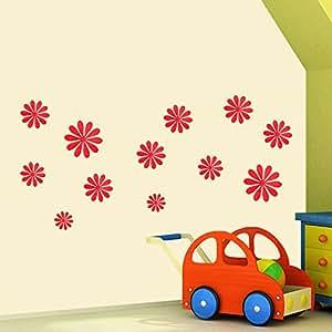 ufengke® 12 Pezzi 3D Fiori Adesivi Murali Fashion Design DIY Fiori Arte Adesivi da Parete Artigianato Decorazione Domestica, Rosso