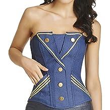 HLGO Corsé más atractivo de Shapewear del cordón del vaquero botón del estilo de la de las mujeres de Azul, 5 Tamaño Para la Elección