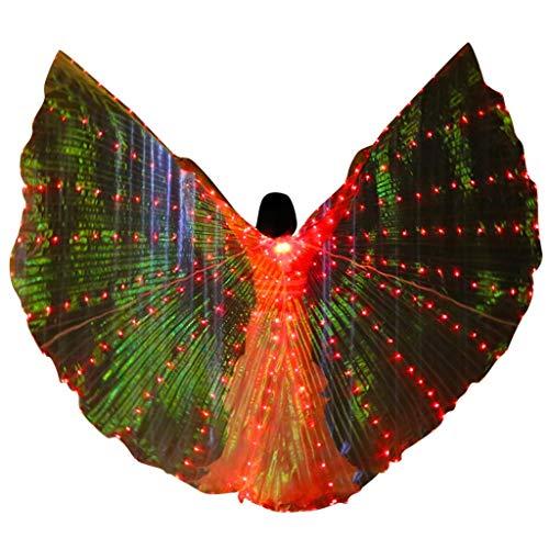 ZHANSANFM Farb LED Isis Flügel Schmetterling Performance Kleidung Karneval Halloween 360 Grad Mit Teleskopsticks Bauchtanz Engelsflügel Wings für Bühnen Weihnachten Party rot