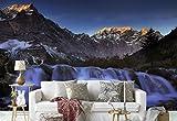 Papier peint mural - Sommet De La Montagne Vallée Cascades Des Roches - Thème Cascades - ÉCHANTILLON - 104cm x 70.5cm (LxH) - 1 Parts - Imprimé sur 130g/m2 papier intissé EasyInstall - 1X-45321VEM