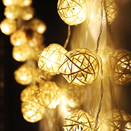 Malloom® 20 LED Blanco cálido ratán Bola de hadas de la secuencia de las luces de Navidad Para la boda del partido
