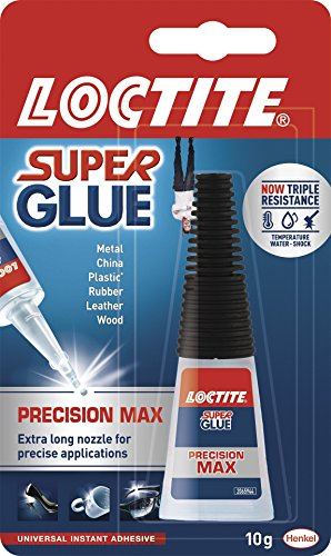 Loctite 1623764 Super Glue Precision Max/Extra Strong Liquid Glue for Metal, Ceramics, Plastic, Rubber, Leather, Wood (1 x 10 g Bottle) - Multi-Colour