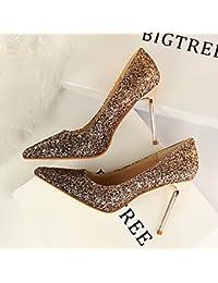 Xue Qiqi Très bien avec les chaussures de femmes sort de la mode des souliers à talon couleur fixations oblongs, dew-toe Sandales femme wild,38,