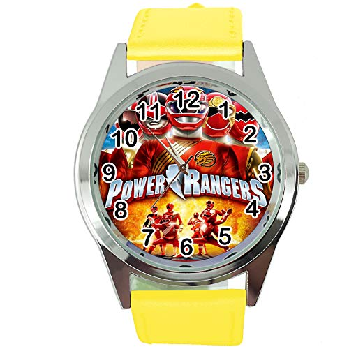 Taport® Power Rangers Runde Quarzuhr Gelb Lederband + Gratis Ersatzakku + Geschenkbeutel