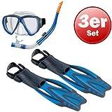 Beco Unisex- Erwachsene Masken-Schnorchel-Flossen-Set-99015 Tauchset, blau, 40-42