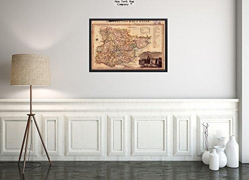 1817 Karte Großbritannien: Essex-Essex-Langley's New of Essex Relief Gezeigt von Hachures. Vignette Colche Kunstdruck, Reproduktion, fertig zum Einrahmen - County England-antik-karte