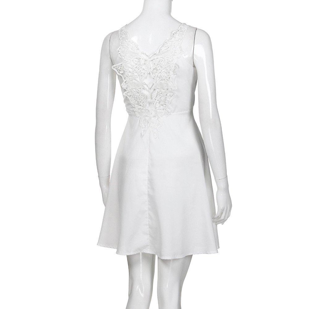 pretty nice acfe3 f059c Vestito Bianco Donna - Vestito da Donna Elegante Corto Abito Vestito da  Cerimonia Donna Abito Vestito da Festa Casual Estivo Vestiti Donna Estate  ...