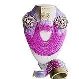 Laanc du Nigeria Mariage africain Perles 10rangs Lilas et violet cristal bijoux Définit A00035