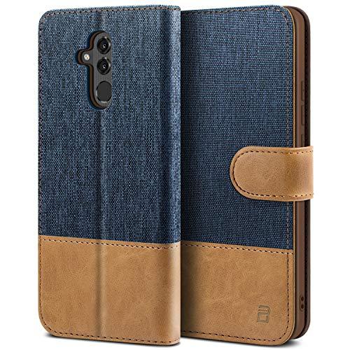 BEZ Handyhülle für Huawei Mate 20 Lite Hülle, Tasche Kompatibel für Huawei Mate 20 Lite, Handytasche Schutzhülle [Stoff & PU Leder] mit Kreditkartenhalter, Blaue Marine