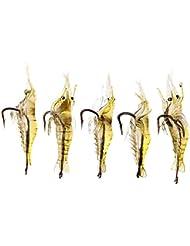 Lixada 5 PIÈCES 4cm 2g Leurre souple Super-léger en forme de crevettes appât crochet pointu