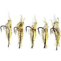 Lixada 5Pcs 4cm 2g pesca señuelo suave super-ligero vivo camarón gambas cebo gancho agudo