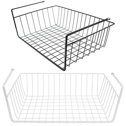 Lawei 2er Set Hängekorb aus Metall, Schrankkorb Regal für Küchenschrank Kleiderschrank ufbewahrungs-Korb - Schwarz & Weiß