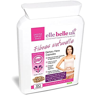 High Fibre Supplement - 100 Capsules - Soluble & Non-Soluble High Dietary Fibre Capsules For Cleansing The Bowel & Increasing Bowel Movements - Elle Belle UK Fibres Naturelle - Premium Ingredients include Psyllium husks, flaxseed, prune juice, fig fruit a