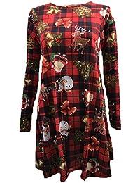 Lush Clothing Women's Long Sleeve Christmas Dress Uk 12-14 Red Tartan Santa / Holly