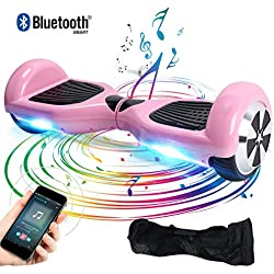 """Windgoo Hoverboard 6.5"""" Patineta Scooter eléctrico Self-Balance,Led Luces, Monopatín eléctrico (N1-BL-Pink)"""