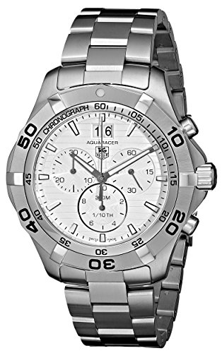 Tag Heuer Aquaracer Grande Date Men's Quartz Watch with Silver Dial Chronograph Display and Silver Stainless Steel Bracelet CAF101F.BA0821