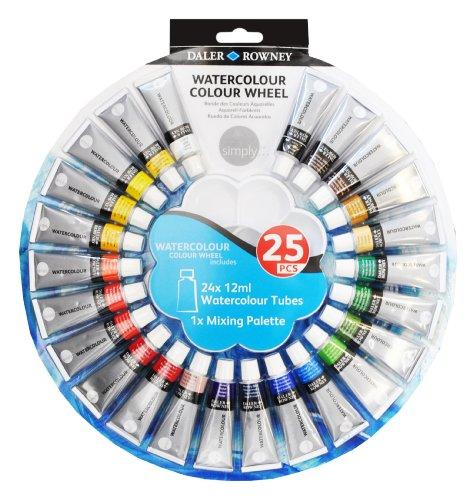 Daler Rowney Einfach Aquarell Farbe Rad 24x 12ml Tuben & 1x Mischpalette