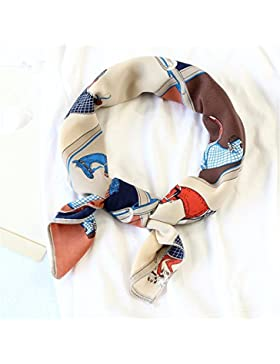 FLYRCX Satén de seda Pañuelo de seda señoras Bufanda de moda cinturón pelo decorativo 70cmx70cm,B