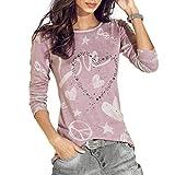 BHYDRY Frauen Langarm Brief Gedruckt Shirt Casual Bluse Lose Baumwolle Tops T-Shirt(2XL,Rosa)