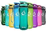 Grsta Botella Del Agua Deporte 600ml/800ml/1L Tritan Sin BPA & Eco-Friendly Reutilizable de Plastico...