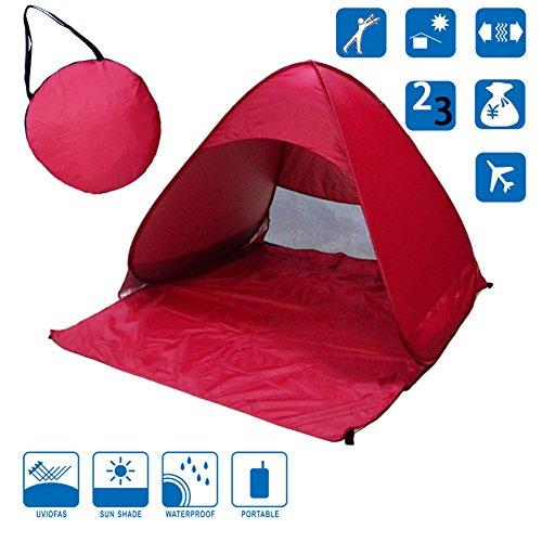 Ommda Strandmuschel Pop up Automatik Strandmuschel Sand Regendicht für Kinder und Baby UV Schutz UPF 50+ 2-3 Personen 165x150x110cm Rot