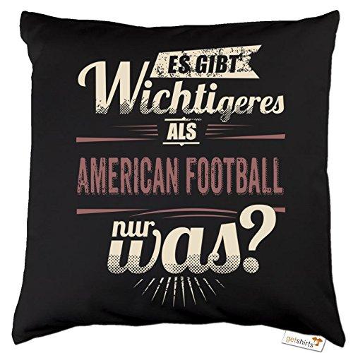 getshirts - RAHMENLOS® Geschenke - Kissen - Es gibt wichtigeres als American Football - Sport red - Dunkelgrau uni
