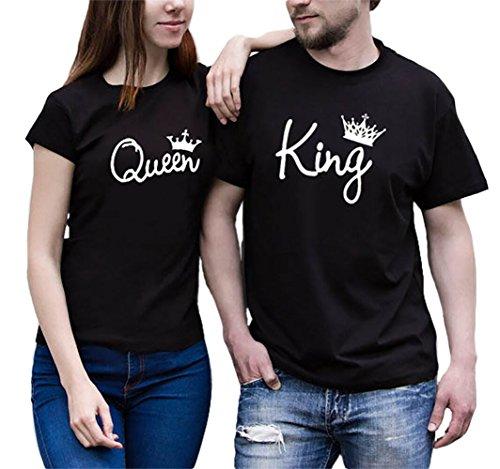 Pareja camiseta JWBBU® rey Reina 01 Impresión Corona Imperial Hombres Mujer Tops Tees San Valentín Amante Pareja Camisetas (king-L+BK-queen-L)