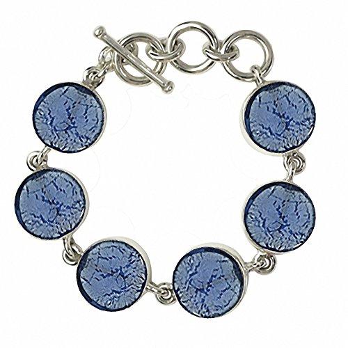 """Gabriella Nanni, Bracelet en argent 925avec verre de Murano-Verre Non déclaré-Bracelet Ronds """" bleu ciel"""