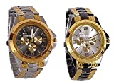 Blue Diamond Analogue Multicolour Dial Black with Rosara Watch for Men (213-214)- Combo of 2
