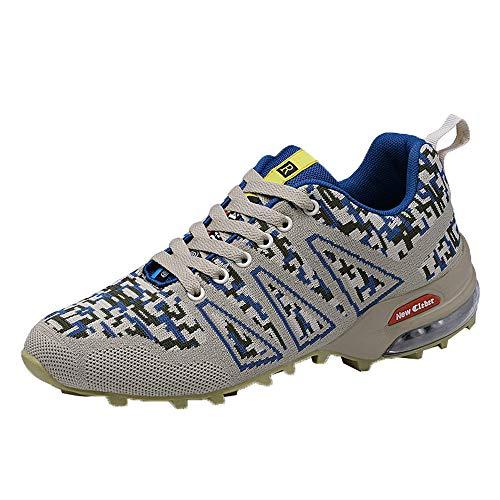 CUTUDE Herren Sportschuhe Paar Modelle Laufschuhe Fliegen Gewebt Mesh Freizeitschuhe Mode Laufsocken Schuhe Damen Studenten Elastische dünne Stiefeletten rutschfeste Schuhe Mesh-Schuhe (Blau, 45 EU)