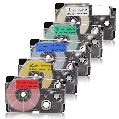 Labelwell 5x Ersatz für 12mmx 8m Casio XR-12WE1 XR-12RD XR-12BU XR-12YW XR-12GN Schriftband für EZ-Label Printer Casio KL-60 KL-820 KL-120 KL-7400 KL-HD1 KL-G2 KL-130 Beschriftungsgerät