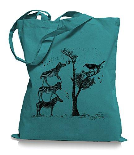 Zebras Stoffbeutel |Apfelbaum Tragetasche Krähe Emerald